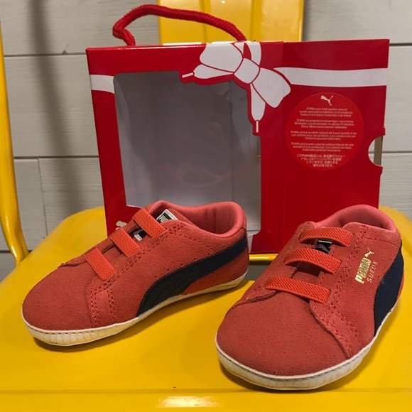 best service 97d60 b0a0c Puma suede orange and blue crib sneakers size 4 NWT